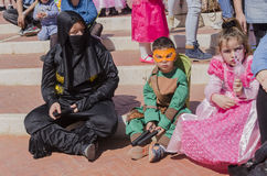 Beer-Sheva, ISRAEL - March 5, 2015: Children in costumes on Purim celebration in Beer-Sheva on March 5, 2015 in Israel Royalty Free Stock Photography