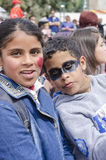 Beer-Sheva, ISRAEL - March 5, 2015:Girl and boy teenagers with carnival makeup on their faces -Purim Stock Images