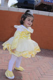 Beer-Sheva, ISRAEL - March 5, 2015:The girl in the dress of pale yellow  with crown - Purim Stock Photos