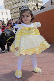 Beer-Sheva, ISRAEL - March 5, 2015:The girl in the dress of pale yellow  with crown Royalty Free Stock Photo