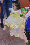 Beer-Sheva, ISRAEL - March 5, 2015:The girl in the dress of pale yellow Royalty Free Stock Photography