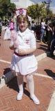Beer-Sheva, ISRAEL - March 5, 2015: Girl dressed as Israeli nurses Royalty Free Stock Images