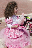Beer-Sheva, ISRAEL - March 5, 2015: The girl in pink princess dress Royalty Free Stock Image