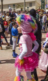 Beer-Sheva, ISRAEL - March 5, 2015: Girl in a suit and a hat pink ram - Purim Royalty Free Stock Photos