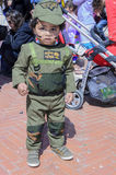 Beer-Sheva, ISRAEL - March 5, 2015:One year old kid in the costume of an Israeli soldier Golani - Purim i Stock Photos