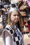 Beer-Sheva, ISRAEL - March 5, 2015:Portrait of a Girl in costume card of Queen with a crown on his head -Purim Royalty Free Stock Photos