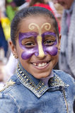 Beer-Sheva, ISRAEL - March 5, 2015: Portrait of a smiling young brunette girl with make-up butterfly on her face - Purim Royalty Free Stock Photo