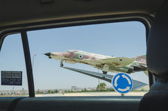 Beer-Sheva, ISRAEL Monument - military fighter. The view from the car window , July 25, 2015 Royalty Free Stock Image