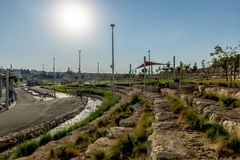 Children`s playground in the landscape park of Beer Sheva Royalty Free Stock Images