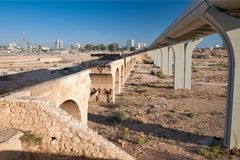BEER-SHEVA, ISRAEL- SEPTEMBER 18, 2012: Old Turkish and new rail Royalty Free Stock Photo