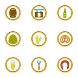 Beer shop icons set, cartoon style Royalty Free Stock Photos