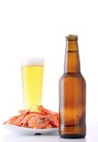 Beer and shrimp isolated on white royalty free stock images