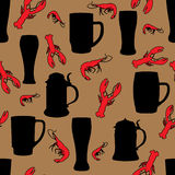 Beer and shrimp pattern. Snack seamless background Royalty Free Stock Images