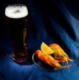 Beer and shrimps Stock Photography