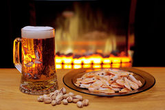 Beer and shrimps Stock Images