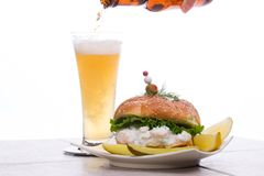 Beer and Shrimps Salad Sandwic Royalty Free Stock Photography
