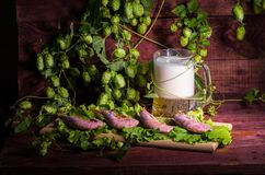 Beer with shrimps and salad on a wooden table Stock Image