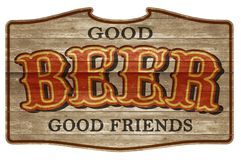 Beer Sign Wooden Plaque Old Western Friends. Beer Sign Wooden Plaque Old Western Good Friends Oak hanging saloon town hall weathered carved wood stock photo
