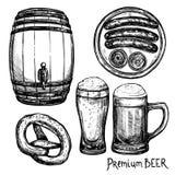 Beer Sketch Decorative Icon Set vector illustration