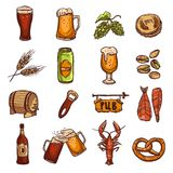 Beer Sketch Set. With drink glass bottle fish barrel isolated vector illustration Royalty Free Stock Photo