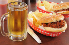 Beer and sloppy Joes Stock Photo