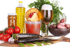 Beer and smoked Fish Stock Images
