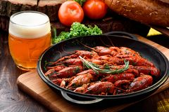 Beer Snack. Light beer in transparent bobkale and Boiled crayfish in cast-iron pan on light wooden board. Beer Snack. Light beer in a transparent bobkale and royalty free stock image