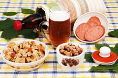 Beer and a snack. Royalty Free Stock Images
