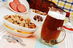 Beer and a snack. Stock Photo