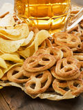 Beer and snacks Royalty Free Stock Images
