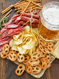 Beer and snacks Stock Images