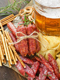 Beer and snacks Royalty Free Stock Image