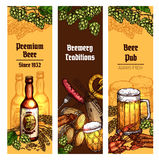 Beer with snacks banner for pub, brewery design. Beer with snacks sketch banner set. Beer bottle, glass, mug and barrel with grilled sausage, salty pretzel, fish Stock Photography