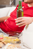 Beer and snacks closeup Royalty Free Stock Images