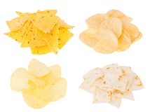Beer snacks collection - crunchy potato chips, nachos, tortilla in heaps isolated on white background. royalty free stock photo