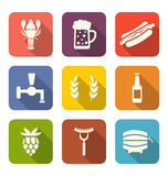 Beer and Snacks Flat Icons Royalty Free Stock Image