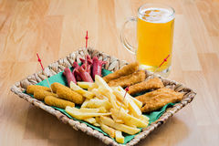 Beer and snacks Stock Photo