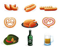 Beer and snacks icons Stock Photos