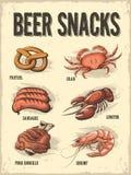 Beer Snacks. Retro poster. Vector illustration of different appetizers for beer, such as: pretzel, sausages, crab meat, pork knuckle, shrimp, lobster on an old stock illustration
