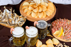 Beer and snacks set Stock Photos