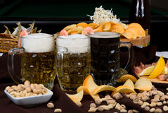 Beer and snacks set Royalty Free Stock Photos