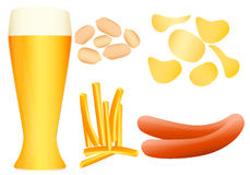 Beer snacks. Set of chips, french fries, sausage and peanuts. Vector illustration Royalty Free Stock Images