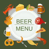 Beer snacks, set icons for creating your infographics Royalty Free Stock Photo
