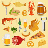Beer snacks, set icons for creating your infographics Royalty Free Stock Images