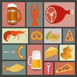 Beer snacks, set icons for creating your infographics Stock Photography