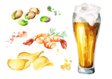 Beer and snacks set. Watercolor. Hand-drawn illustration Stock Image