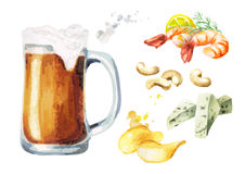 Beer and snacks set, watercolor. Hand-drawn illustration Stock Images