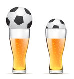 Beer with soccer ball. Like a symbol of football cup Royalty Free Stock Photos