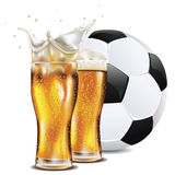Beer and Soccer Ball Royalty Free Stock Photography