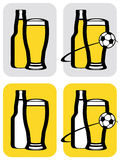 Beer and soccer icons. Illustrated set of four button with beer bottles, glasses, and soccer or football, isolated on white background Stock Images